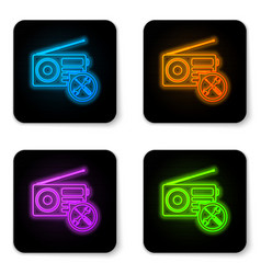 glowing neon radio with screwdriver and wrench vector image