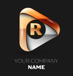 Golden letter r logo in golden-silver triangle vector
