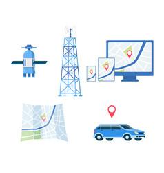gps set or road navigators satellite system flat vector image