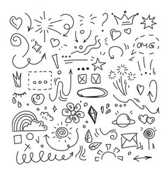 hand drawn doodle isolated funny black vector image