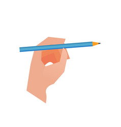 hand with pencil on white background vector image