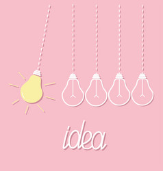 hanging yellow light bulb switch on off lamp vector image