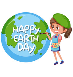 Happy earth day girl concept vector