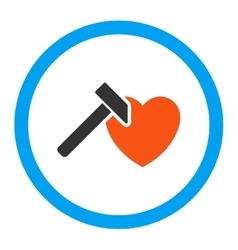 Heart Hammer Rounded Icon vector