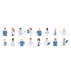 hospital staff doctors in white coats portrait vector image