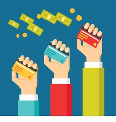 Human Hands with Cards and Dollars Money vector image