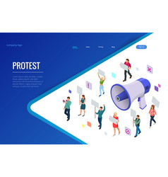 isometric crowd of people protesters male and vector image