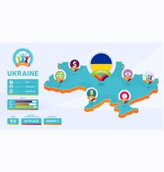isometric map ukraine country football 2020 vector image