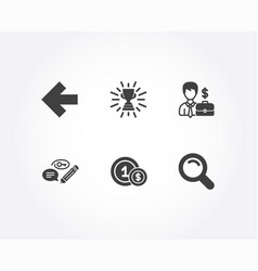 left arrow keywords and trophy icons usd coins vector image