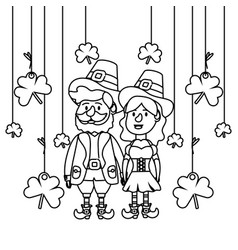 Leprechaun couple with clovers vector