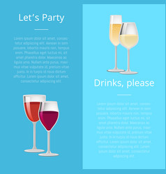 lets party drink please poster pair glasses vector image