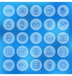 Line Circle Web Virtual Reality Icons Set vector