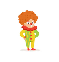 Little boy dressed as a clown cute kid in vector