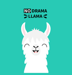 Llama alpaca animal face neck tooth no drama cute vector