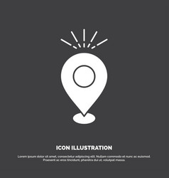 Location pin camping holiday map icon glyph vector