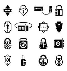 lock door types icons set simple style vector image