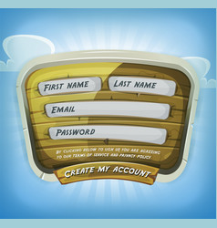 Login form on wood panel for game ui vector