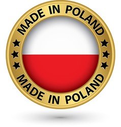 Made in Poland gold label vector