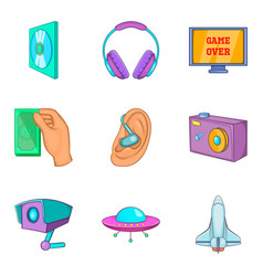Media clouding icon set cartoon style vector