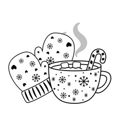 Merry christmas cup and gloves design vector