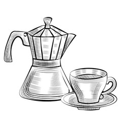 moka pot for brewing espresso coffee and cup icon vector image