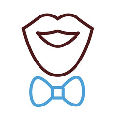 Mustache and beard with bowtie line style icon vector