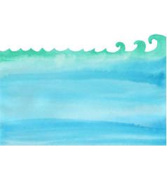 Ocean wave and under sea watercolor background vector
