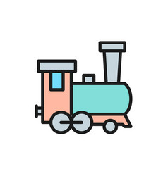 old locomotive train railroad flat color line vector image