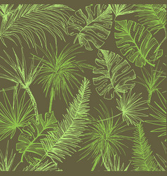 Palmtrees seamless pattern green coconut or queen vector