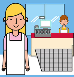 people workers supermarket shopping cart and cash vector image