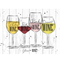 Poster types of wine vector