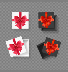 realistic detailed 3d black and white present box vector image
