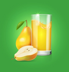 realistic glass of pear fruit juice vector image