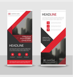 Red black triangle business roll up banner vector