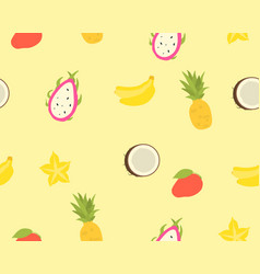 seamless pattern of tropical fruits vector image