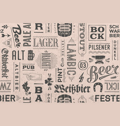 seamless pattern with types of beer and hand drawn vector image