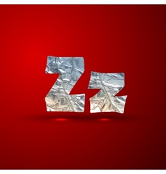 Set aluminum or silver foil letters letter z vector