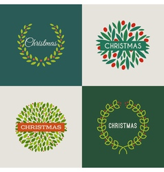 Set of Christmas wreaths with red holly berries vector