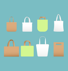 Set of shopping eco canvas vector