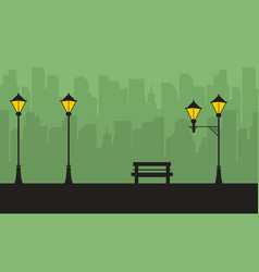 Silhouette of city with street lamp scenery vector
