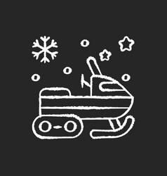 snowmobile chalk white icon on black background vector image