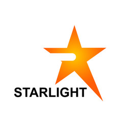 starlight logo template in orange star concept vector image