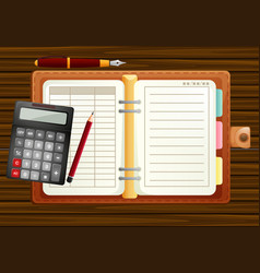 table setting with organizer and calculator vector image