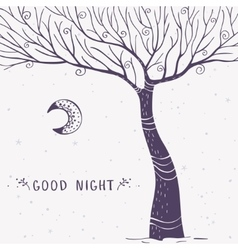 tree silhouette night vector image