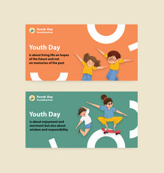 Twitter template with youth day design vector