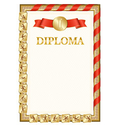 Vertical diploma for first place with hong kong vector