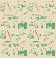 vintage 3 color pattern car scooter tv vector image