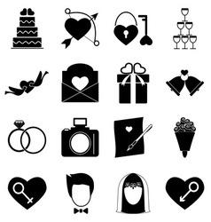 Wedding icons on white background vector image