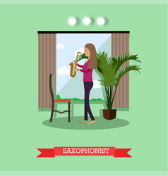 Woman playing saxophone in vector