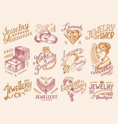 Women s jewelry shop badges and logo set luxury vector